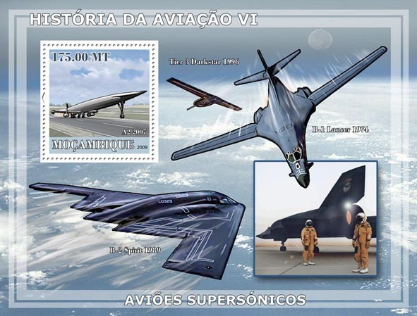 History of Aviation VI / Supersonic Planes - Issue of Mozambique postage Stamps