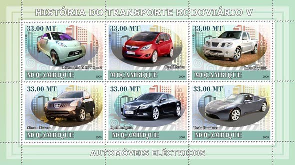 History of Road Transport V / Electric Cars - Issue of Mozambique postage Stamps
