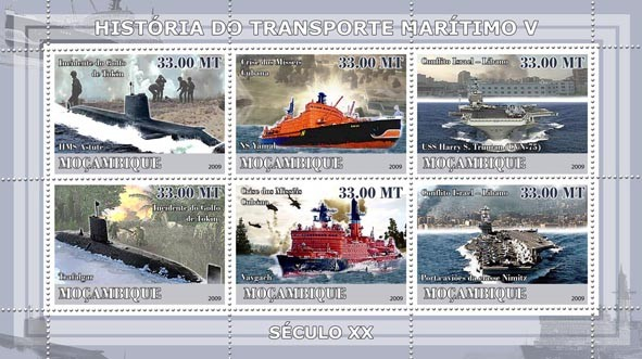 History of Sea Transport V / XX Century Ships - Issue of Mozambique postage Stamps