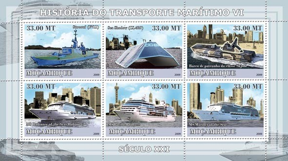 History of Sea Transport VI / XXI Century Ships - Issue of Mozambique postage Stamps