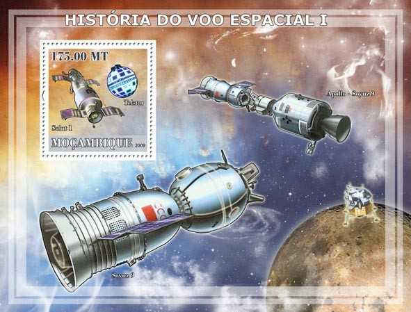 History of Space Flight I / Satellites & Probes - Issue of Mozambique postage Stamps