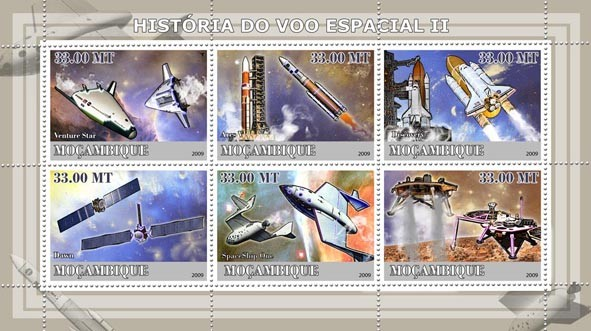 History of Space Flight II / Rockets&Space Planes - Issue of Mozambique postage Stamps
