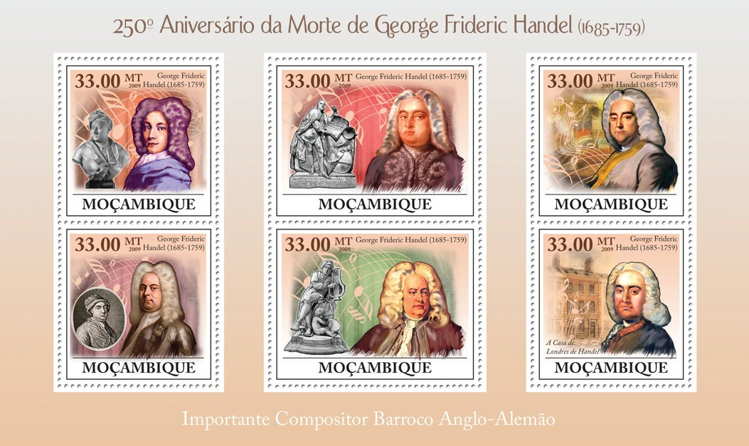 250th  Anniversary of Death of George Frideric Handel (1685-1759) - Issue of Mozambique postage Stamps
