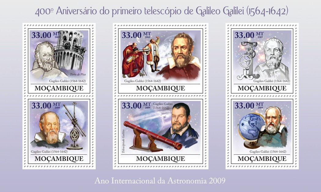 400th Anniversary of the Telescope of Galileo Galilei (1564-1642) - Issue of Mozambique postage Stamps