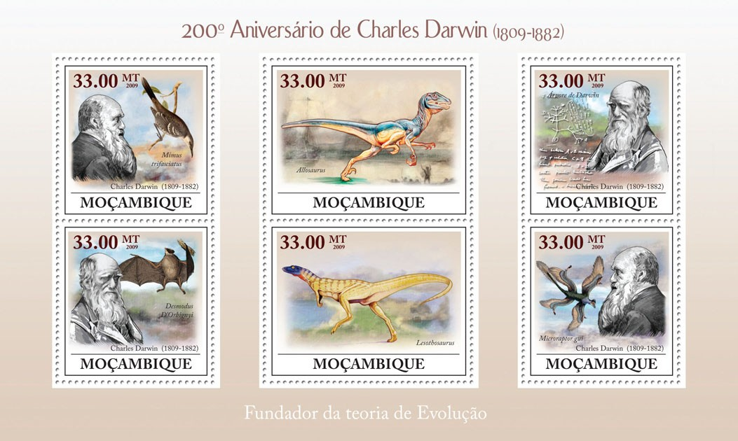 200th Anniversary of  Charles Darwin (1809-1882) - Issue of Mozambique postage Stamps