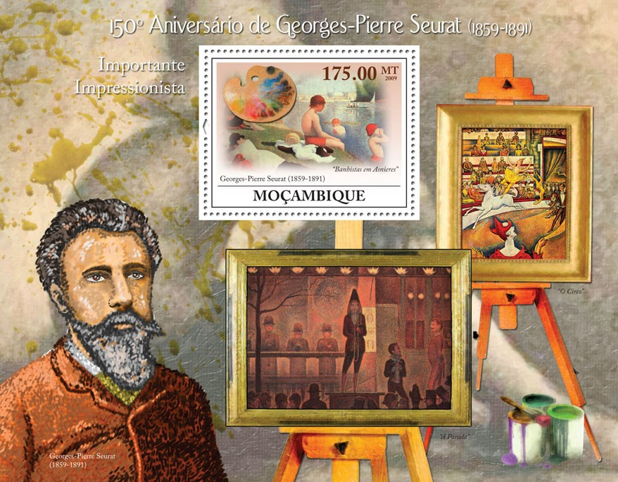 150th Anniversary of Georges-Pierre Seurat (1859-1891) - Issue of Mozambique postage Stamps