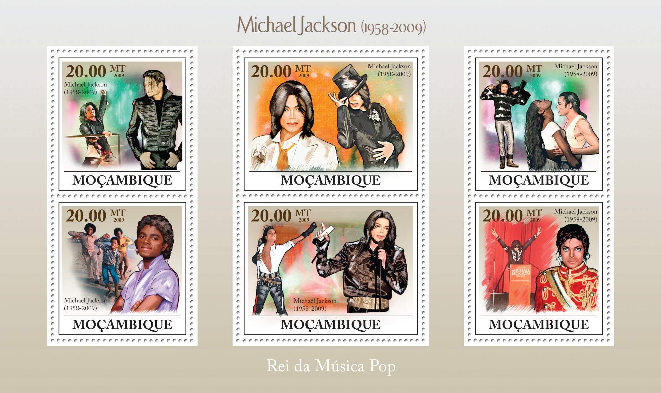 Michael Jackson (1958-2009) - Issue of Mozambique postage Stamps