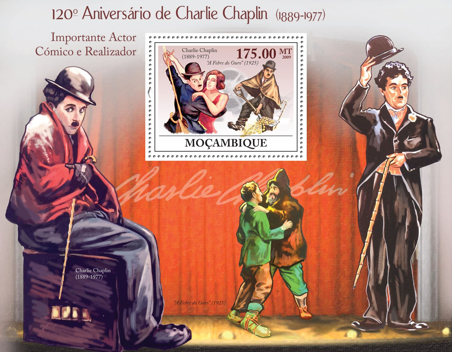 120th Birthday of Charles Chaplin (1889-1977) - Issue of Mozambique postage Stamps