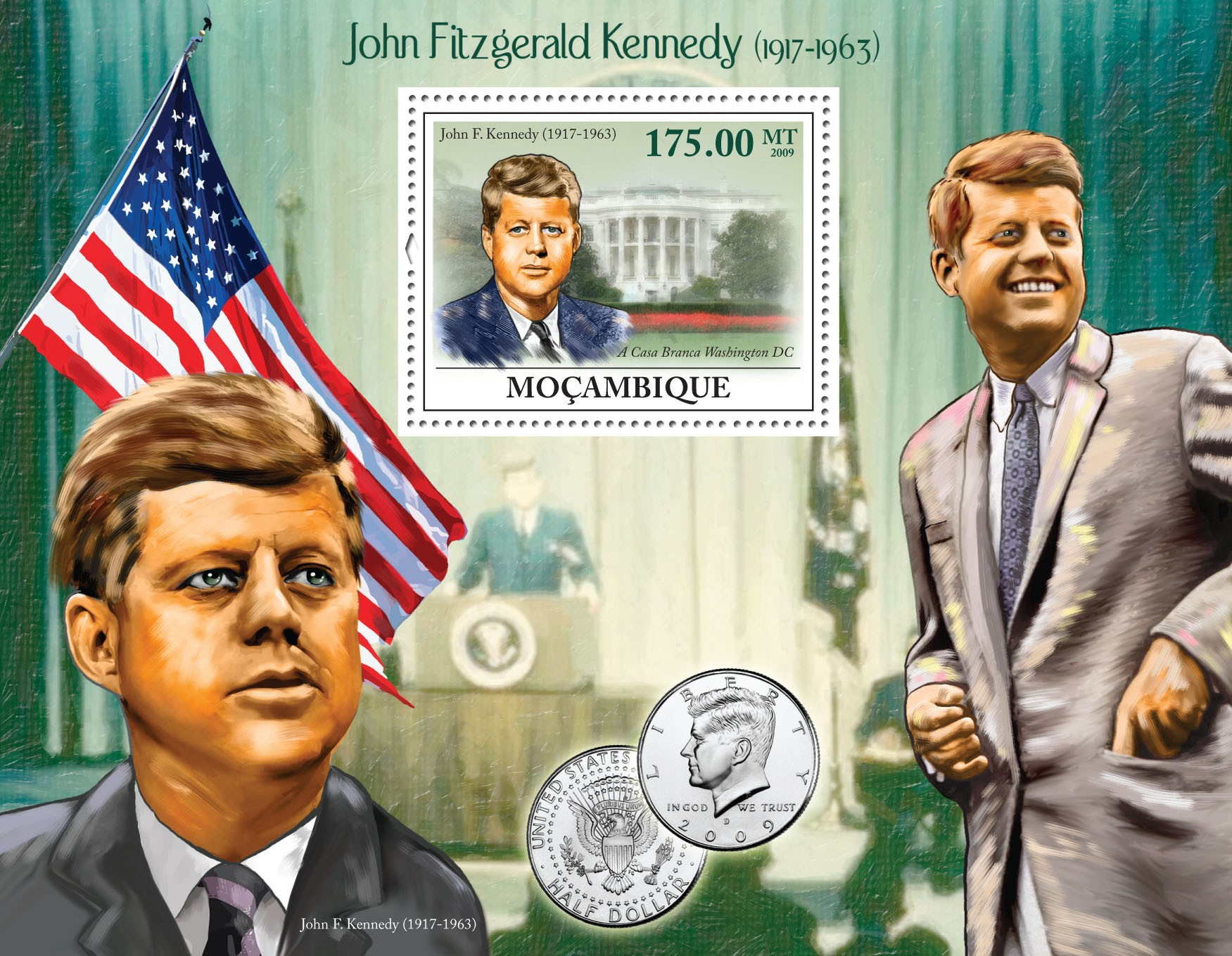 John Fitzgerald Kennedy (1917-1963) - Issue of Mozambique postage Stamps