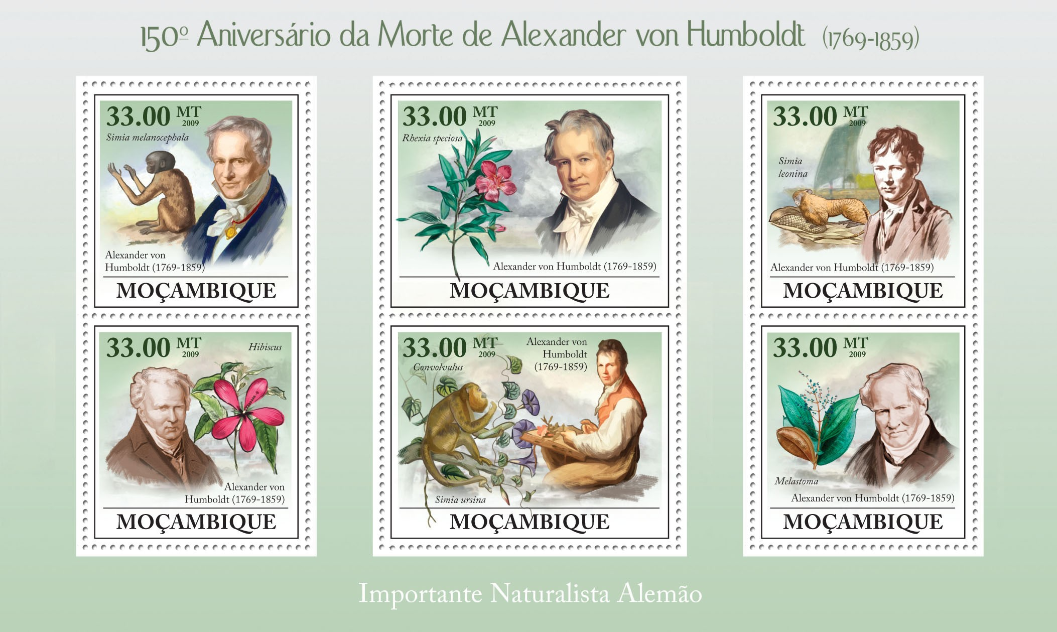 150th Anniversary of Death of Alexander von Humboldt (1769-1859) - Issue of Mozambique postage Stamps