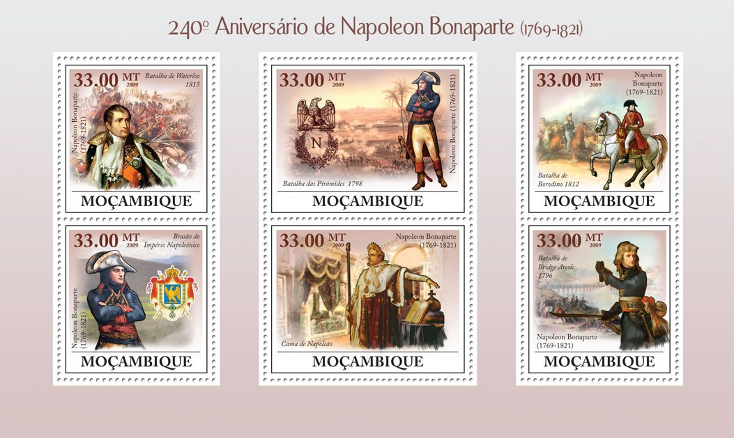240th Anniversary of Napoleon Bonaparte (1769-1821) - Issue of Mozambique postage Stamps