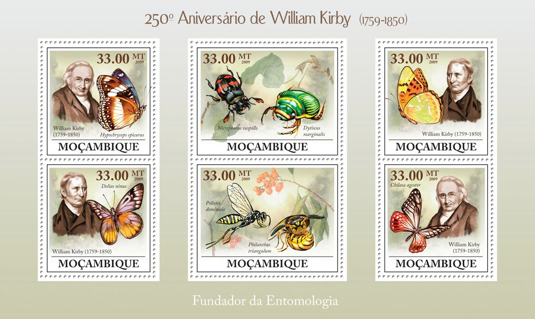 250th Anniversary of William Kirby ( 1759  1850 ) - Issue of Mozambique postage Stamps