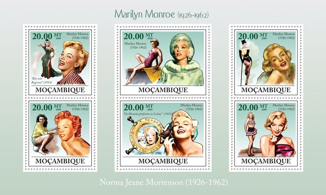 Marilyn Monroe, (1926-1962) - Issue of Mozambique postage Stamps
