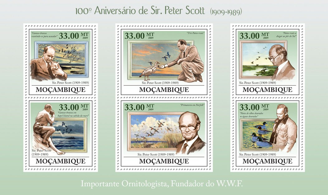 100th Birthday of Sir Peter Scot, (1909-1988) - Issue of Mozambique postage Stamps