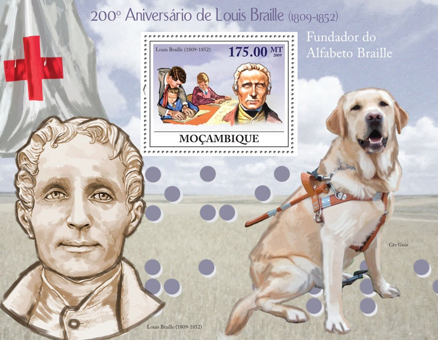 200th Anniversary of Louis Braille, (1809-1852) Imperforated - Issue of Mozambique postage Stamps