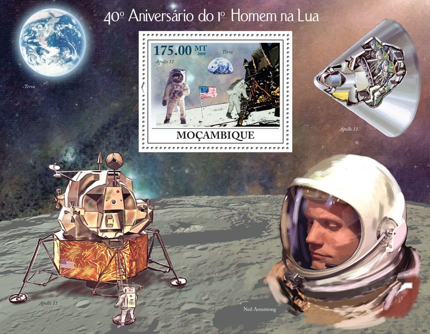 40th Anniversary of the First Man on the Moon, Space - Issue of Mozambique postage Stamps
