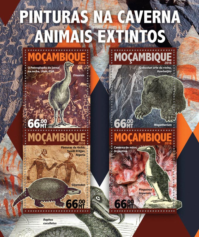 Cave paintings - Issue of Mozambique postage Stamps