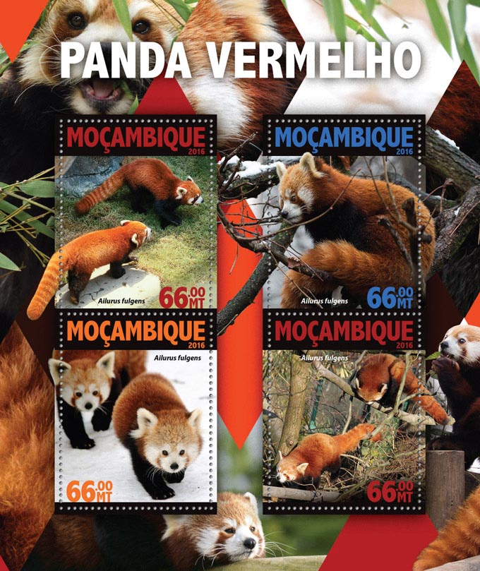 Red panda - Issue of Mozambique postage Stamps