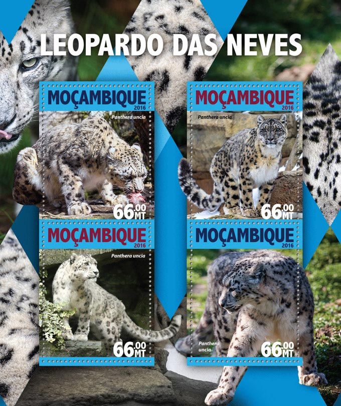 Snow Leopard - Issue of Mozambique postage Stamps