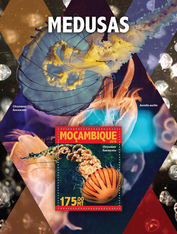 Jellyfish - Issue of Mozambique postage Stamps