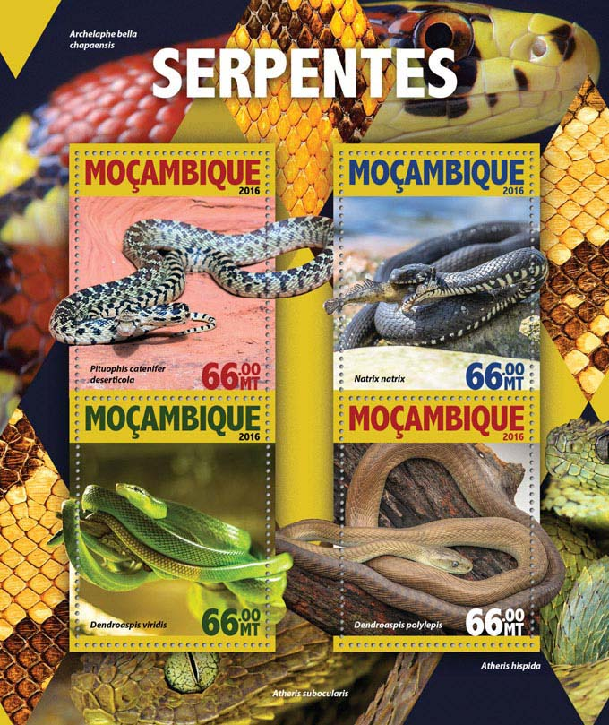 Snakes - Issue of Mozambique postage Stamps