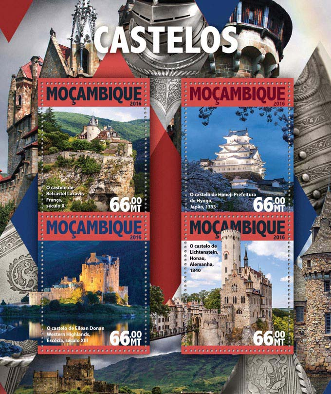 Castles - Issue of Mozambique postage Stamps