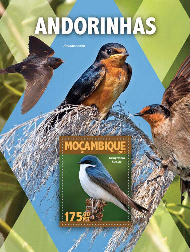 Swallows - Issue of Mozambique postage Stamps