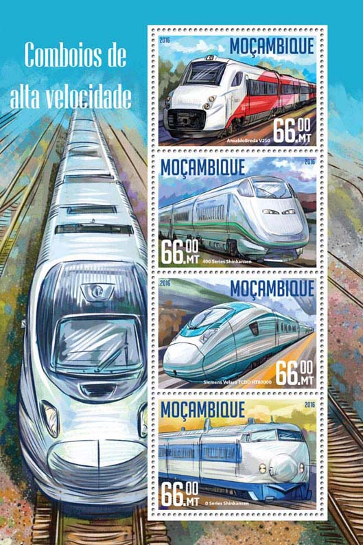 Speed trains - Issue of Mozambique postage Stamps