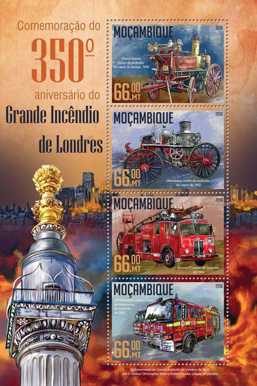Fire of London - Issue of Mozambique postage Stamps