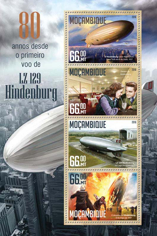 LZ 129 Hindenburg - Issue of Mozambique postage Stamps