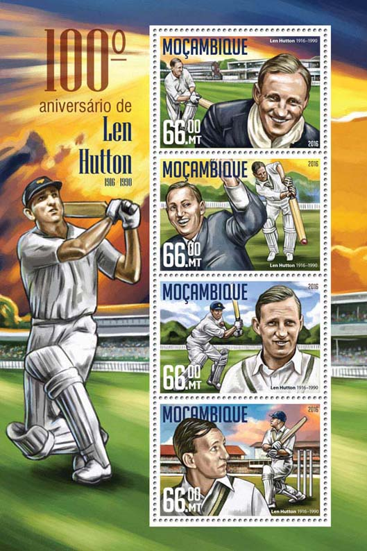 Len Hutton - Issue of Mozambique postage Stamps