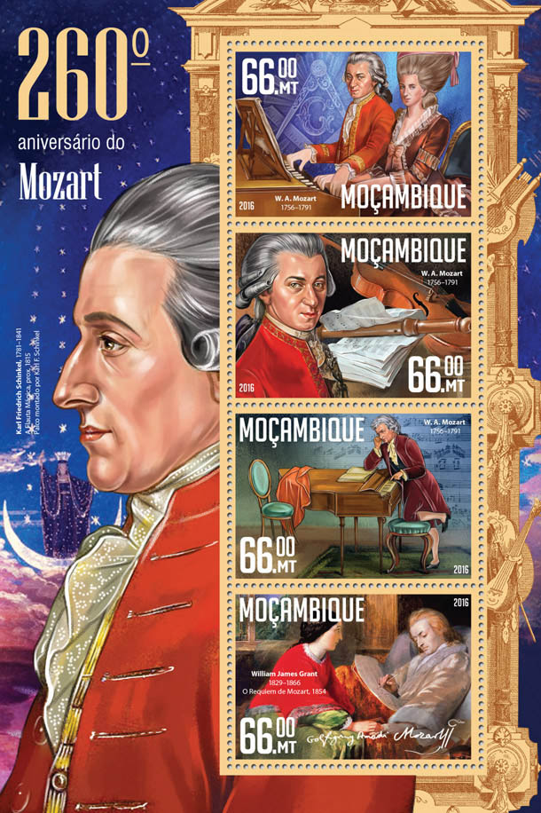 Mozart - Issue of Mozambique postage Stamps