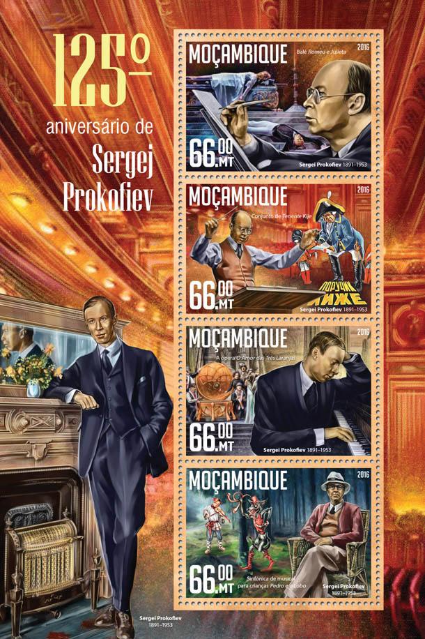 Sergei Prokofiev - Issue of Mozambique postage Stamps