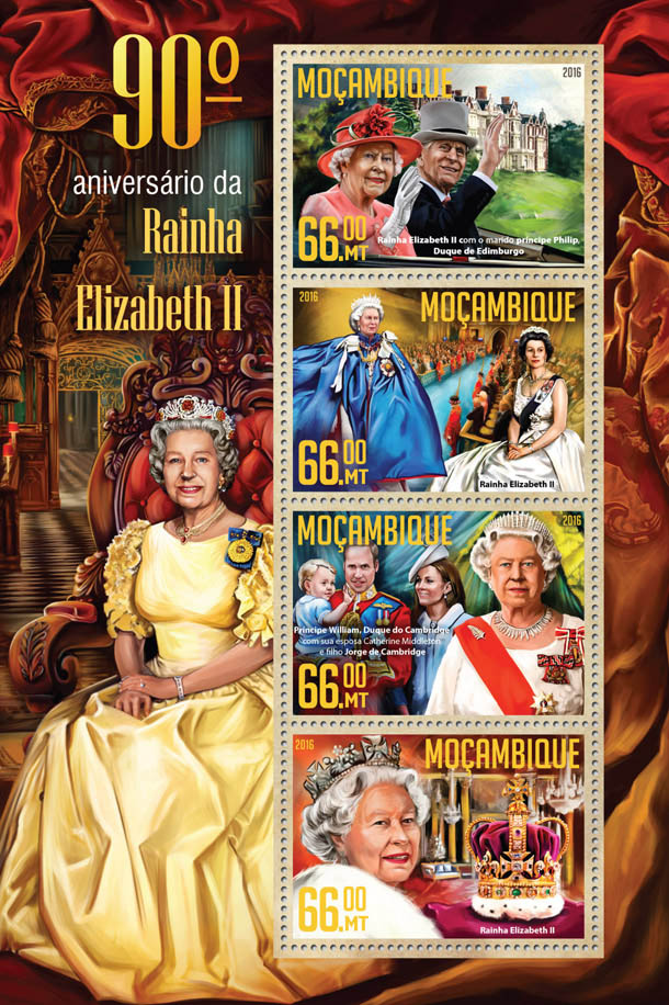 Queen Elizabeth - Issue of Mozambique postage Stamps