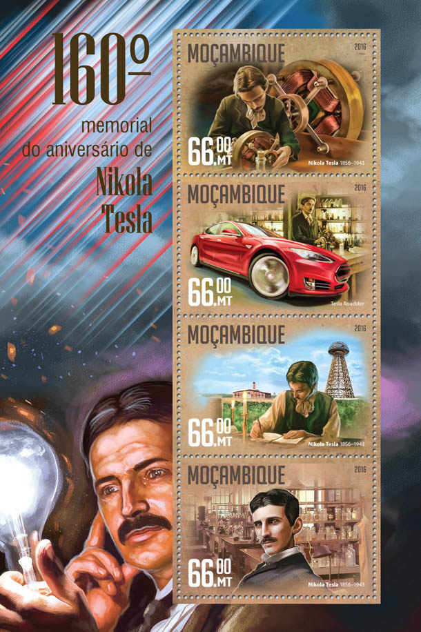 Nikola Tesla - Issue of Mozambique postage Stamps