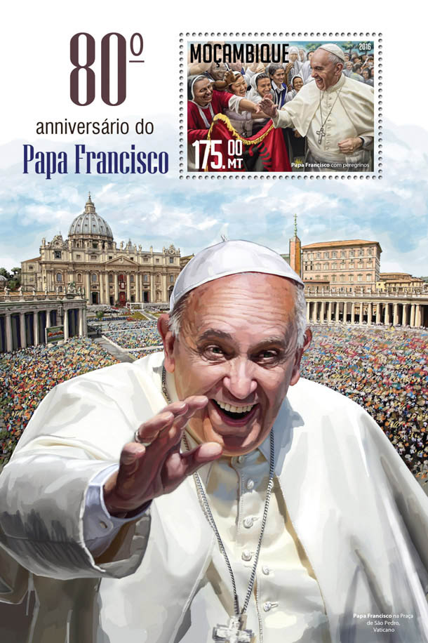 Pope Francis - Issue of Mozambique postage Stamps