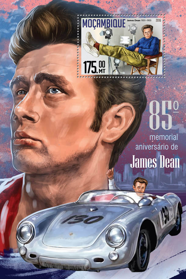 James Dean - Issue of Mozambique postage Stamps