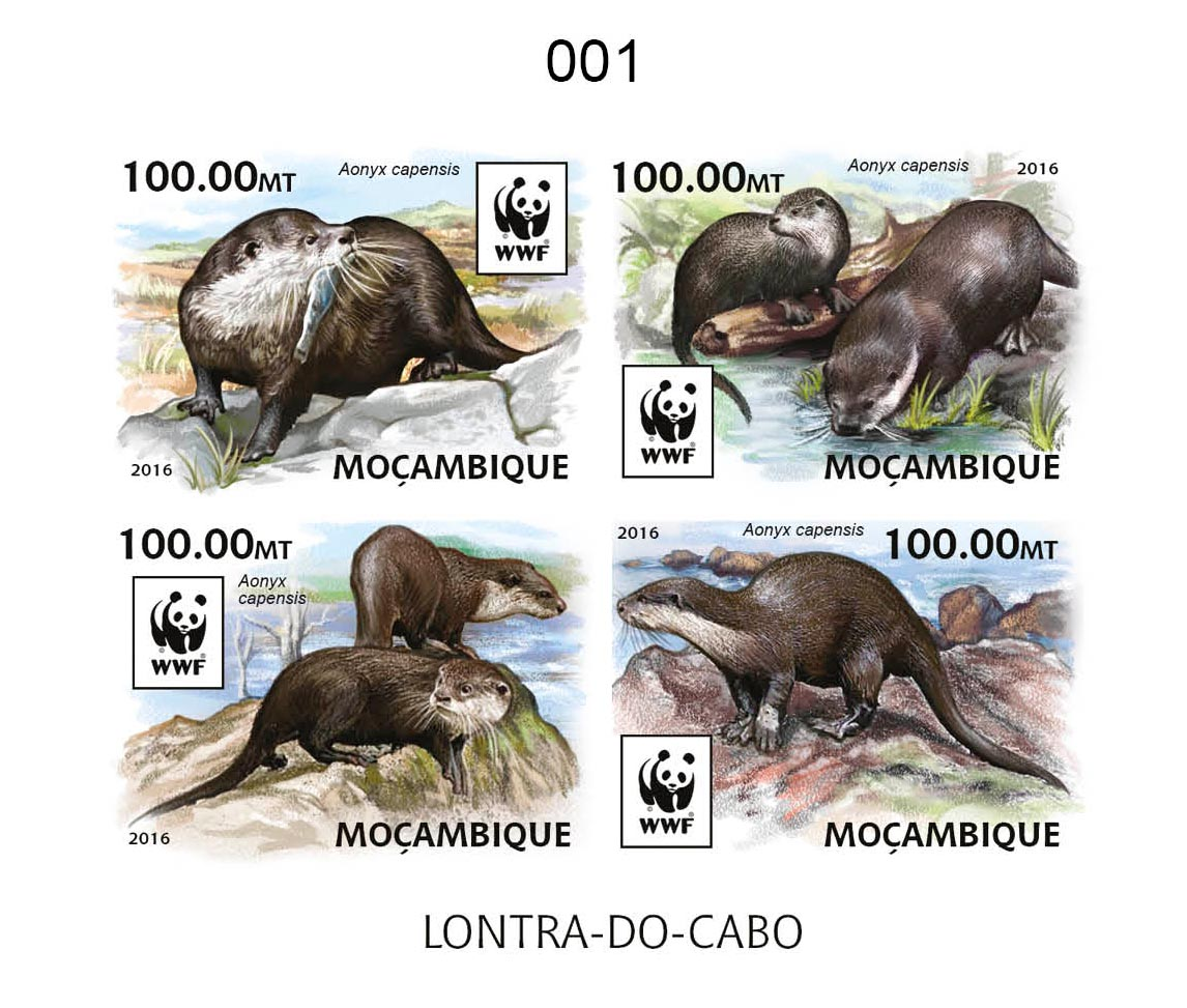 WWF – Otter (delux) - Issue of Mozambique postage Stamps