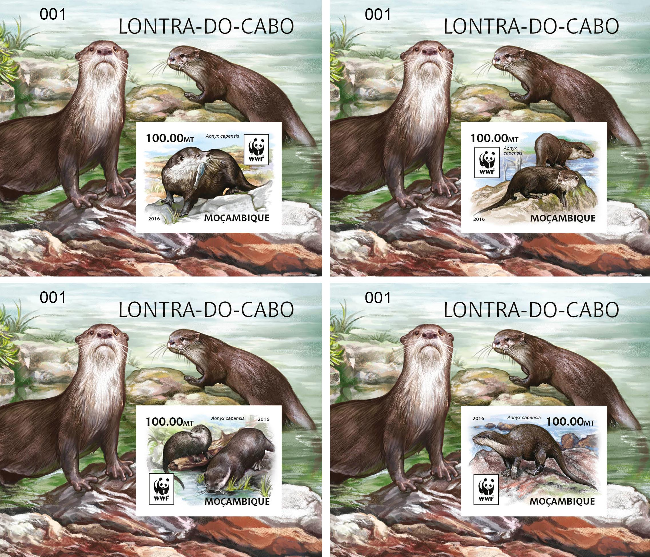 WWF – Otter (imperf. 4 delux) - Issue of Mozambique postage Stamps