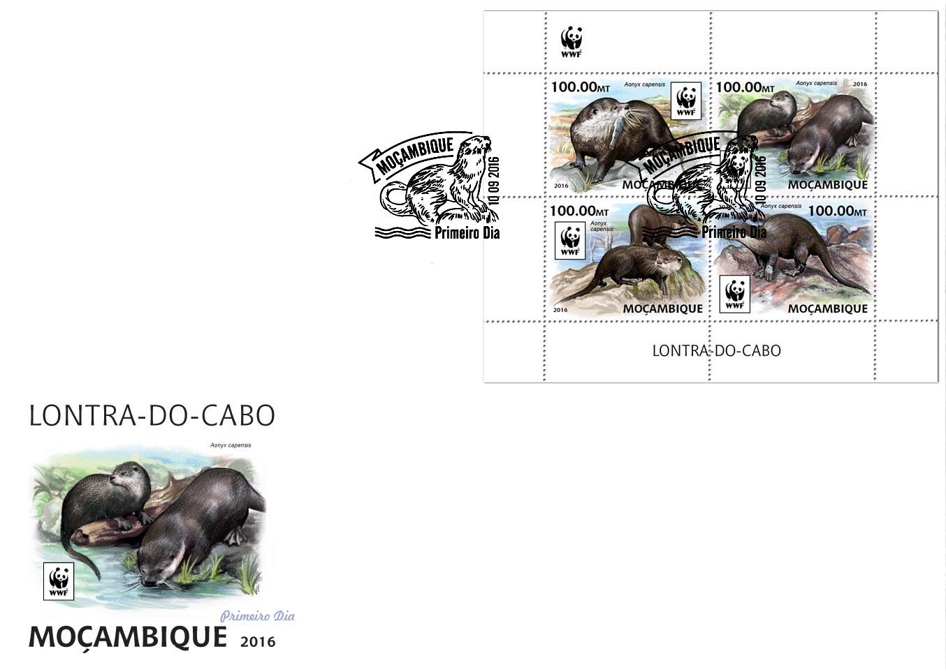 WWF – Otter (FDC) - Issue of Mozambique postage Stamps