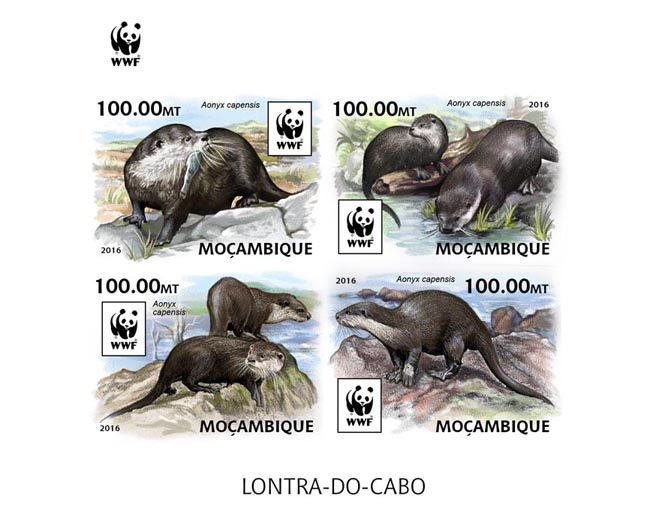 WWF – Otter (imperf. Set) - Issue of Mozambique postage Stamps