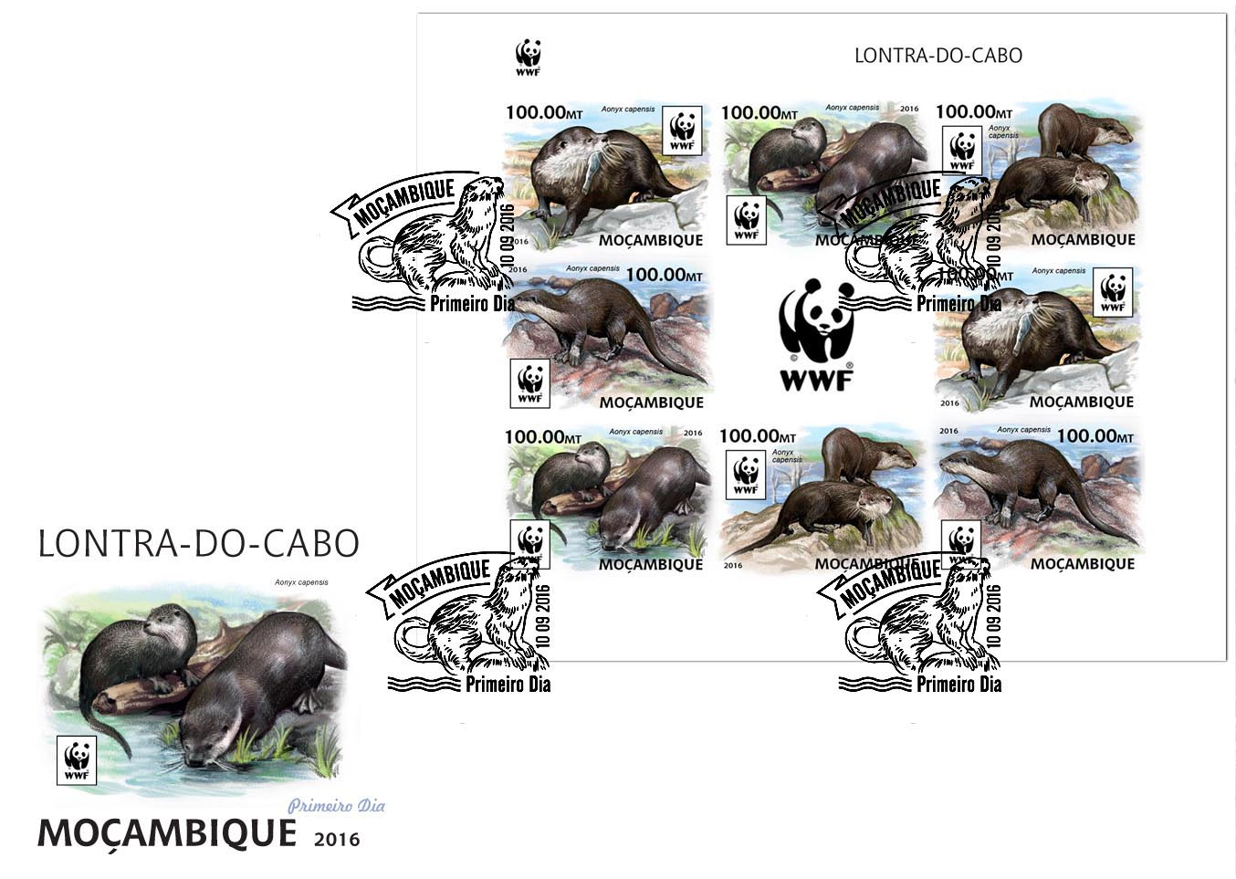 WWF – Otter (FDC imperf.) - Issue of Mozambique postage Stamps