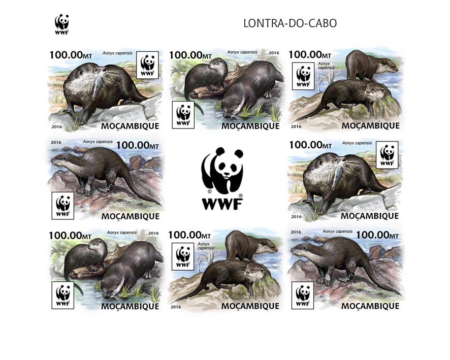 WWF – Otter (imperf. 2 sets) - Issue of Mozambique postage Stamps
