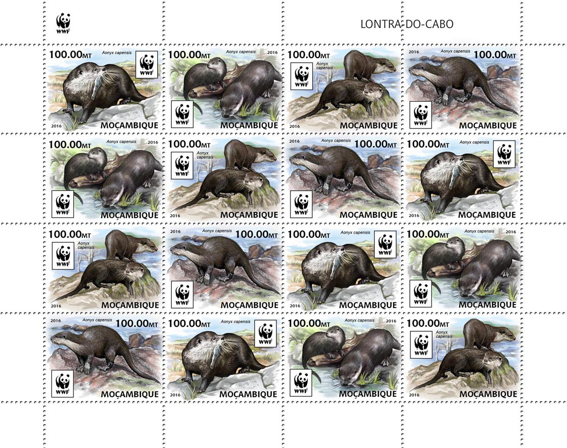 WWF – Otter (4 sets) - Issue of Mozambique postage Stamps
