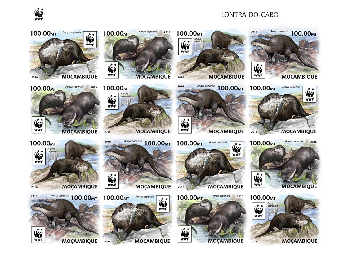 WWF – Otter (imperf. 4 sets) - Issue of Mozambique postage Stamps