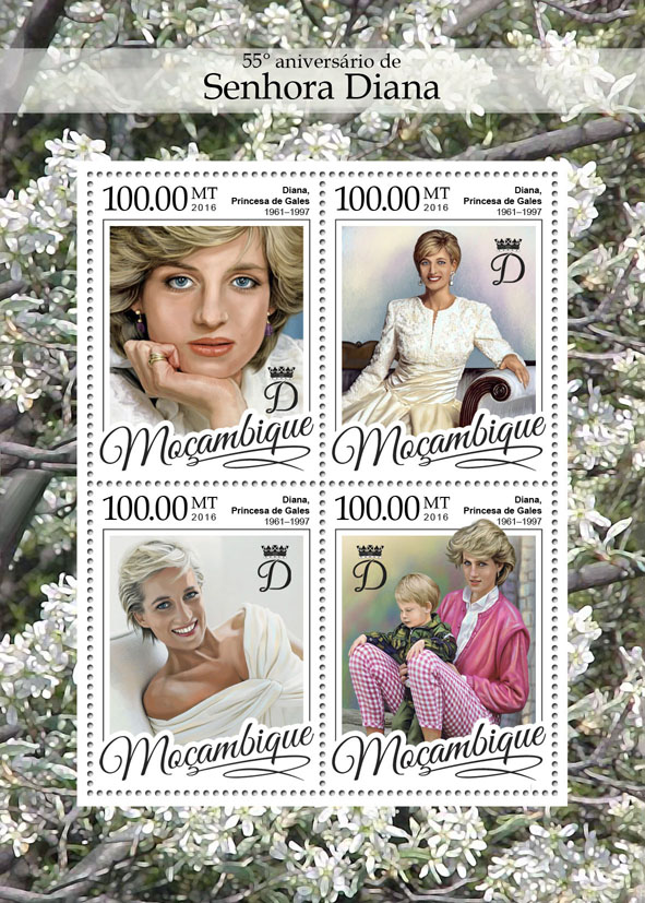 Lady Diana - Issue of Mozambique postage Stamps