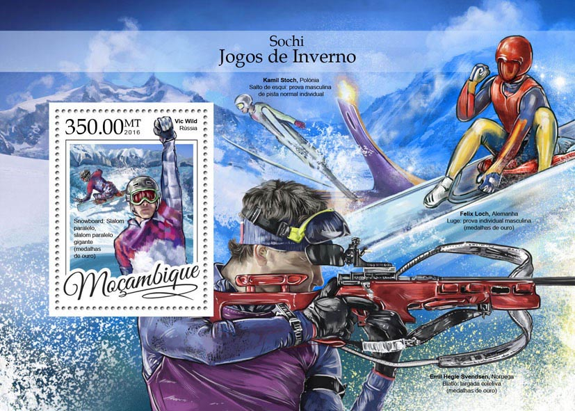 Sochi winter games - Issue of Mozambique postage Stamps