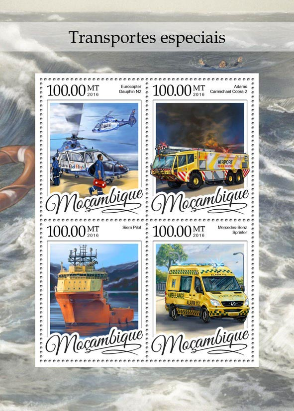 Special transport - Issue of Mozambique postage Stamps