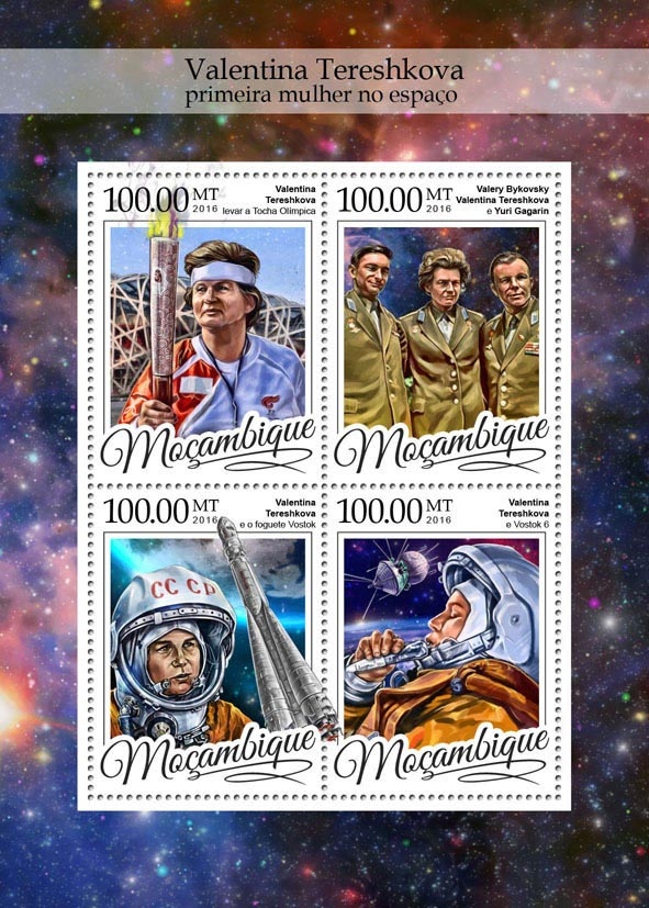 Valentina Tereshkova - Issue of Mozambique postage Stamps