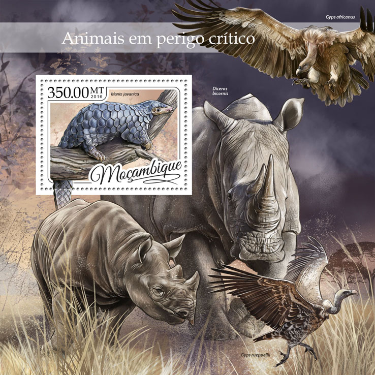 Endangered animals - Issue of Mozambique postage Stamps